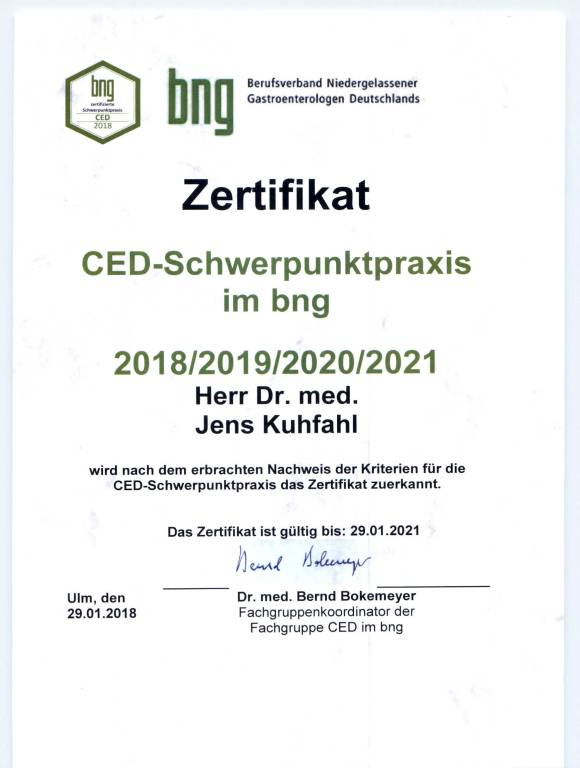 Dr Kuhfahl BNG Zertifikat CED